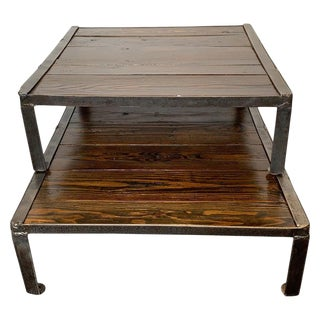 Reclaimed Pallets and Steel Stacking Coffee Table - 2 Pieces For Sale