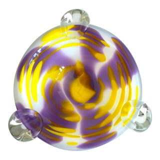 Vintage Mid Century Modernist Italian Purple and Yellow Abstract Swirl Hand Blown Murano Art Glass Bowl For Sale