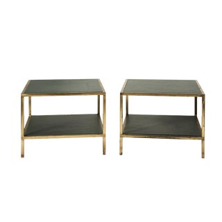 Mid-Century Modern Schumacher Green Leather and Brass Low French Side Tables - a Pair For Sale