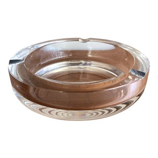 Vintage Crystal Glass Ashtray Mid Century For Sale