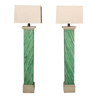 Vintage Faux Malachite Floor Lamps With Linen Shades — a Pair For Sale