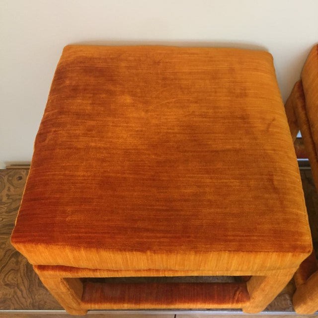 Orange 1970s Orange Velvet Console Table With Parsons Style Ottomans, Set of 3 For Sale - Image 8 of 12