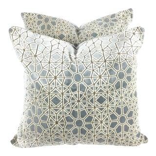 """Hollywood Regency Pollack's """"Cracked Ice"""" Custom Designer Velvet Pillows - a Pair For Sale"""