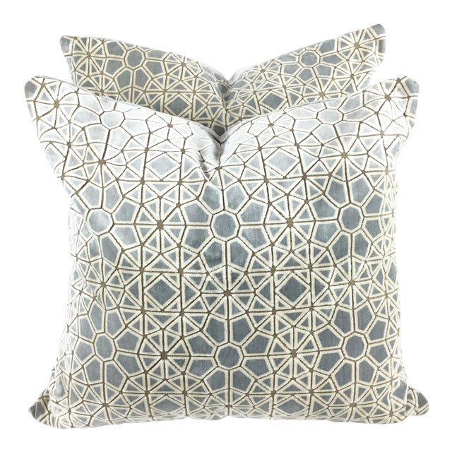 "Hollywood Regency Pollack's ""Cracked Ice"" Custom Designer Velvet Pillows - a Pair For Sale"