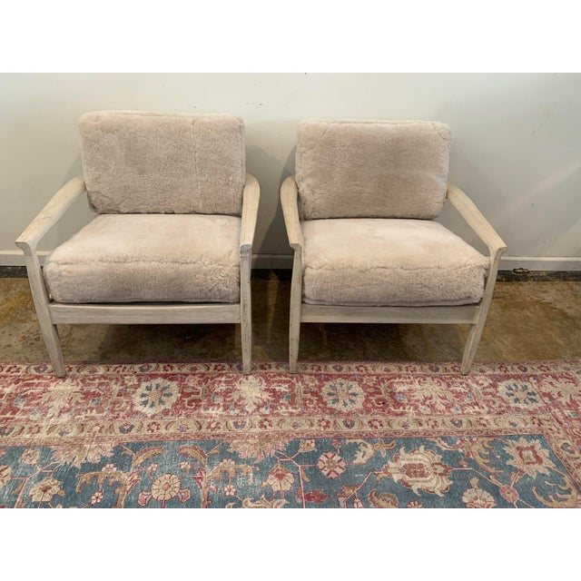 Mid-Century Inspired Shearling Lounge Chairs - a Pair For Sale - Image 10 of 12