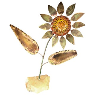 Curtis Jeré Metal and Resin Sunflower Sculpture For Sale