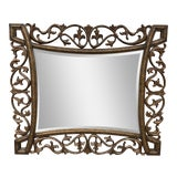 Image of Tommy Bahama Metal + Wood Wall Mirror For Sale