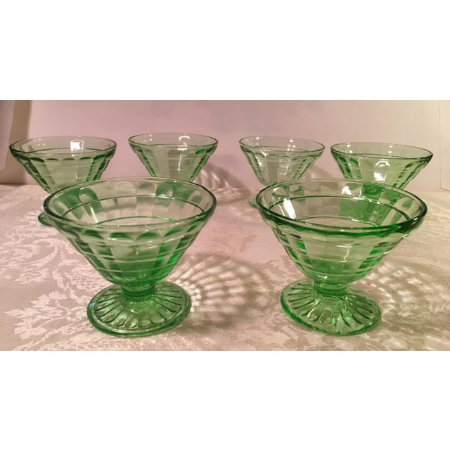 Mid-Century Modern Green Uranium Glass Footed Sherbets - Set of 6 For Sale - Image 4 of 9
