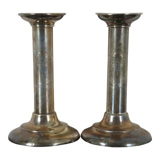Pre 1928 Reed Barton Sterling Silver Etched Torchiere Candlesticks - a Pair For Sale