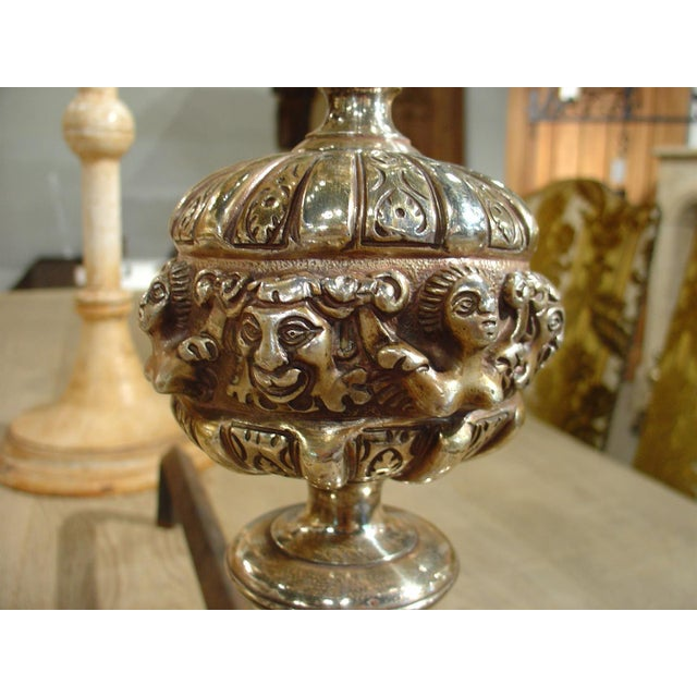 Pair of Antique Louis XIV Style Silvered Bronze Andirons For Sale - Image 4 of 8