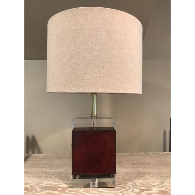 2010s Ambassador Table Lamp - Brown Leather Base For Sale - Image 5 of 5