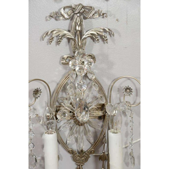 Bronze Pair of 19th Century Silver Leaf and Crystal Sconces For Sale - Image 7 of 8