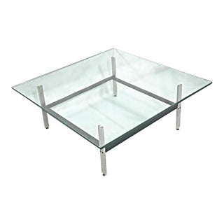 Poul Kjaerholm Mid-Century Steel & Glass Coffee Table For Sale