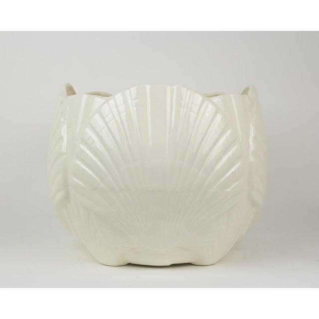 Boho Chic Large White Ceramic Sea Shell Planter Cache Pot For Sale - Image 3 of 10