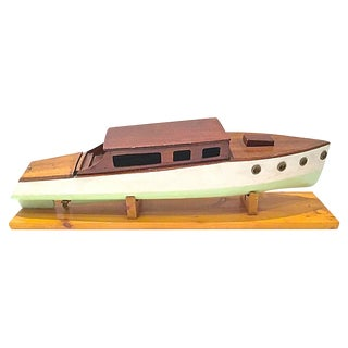 Vintage Nautical Handcrafted Model Speedboat For Sale