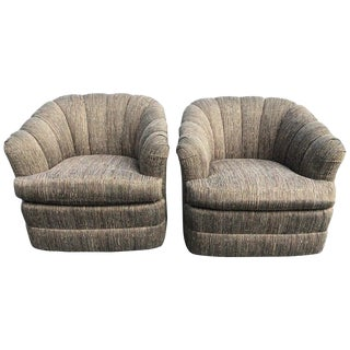 1990s Vintage Ethan Allen Swivel Chairs- A Pair For Sale