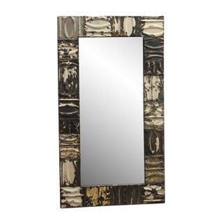 Mixed Pattern Ceiling Tin Brown Neutral Tone Mirror For Sale