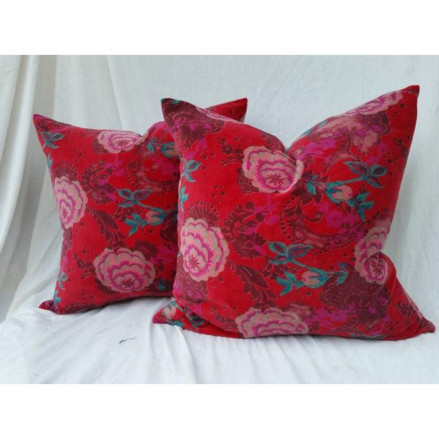 Velvet Rose Pillows- A Pair - Image 2 of 5