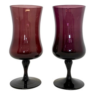 Mid Century Modern Footed Vases in Purple Hues - a Pair For Sale