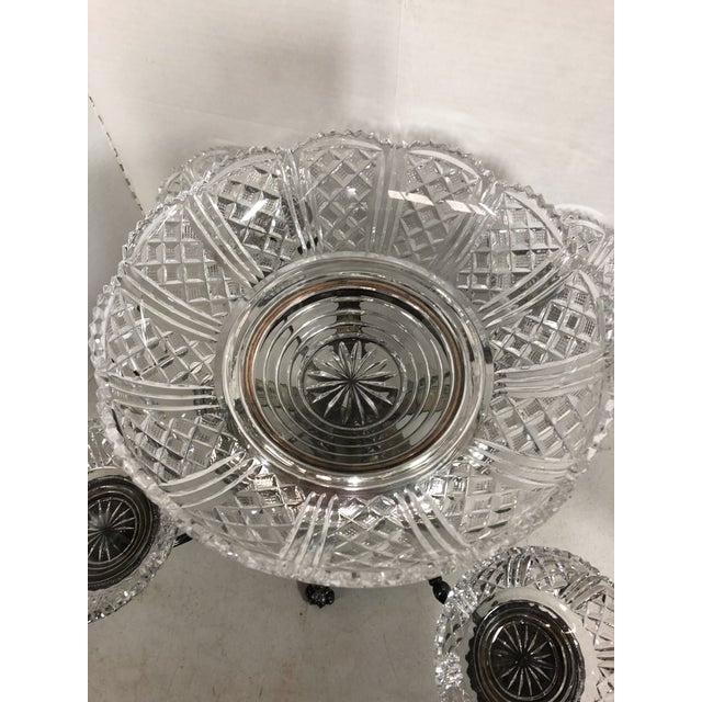 Vintage Crystal and Silver Plate Epergne For Sale - Image 11 of 13