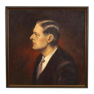 American Victorian style oil painting of T.S. Eliot in a dark stained frame For Sale