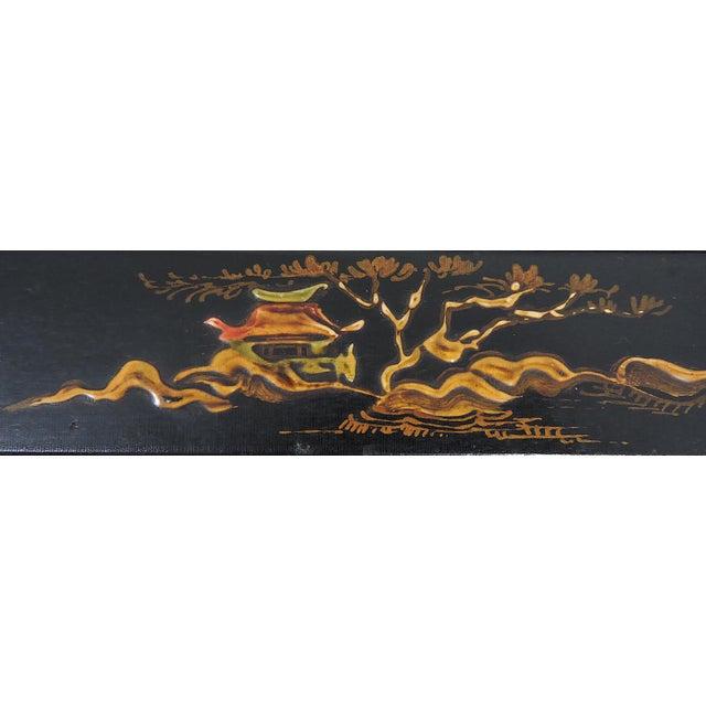 Wood Vintage Black Japanned 'Pagoda & Landscape' Asian Glass Top Nesting / Side Tables - Set of 3 For Sale - Image 7 of 9