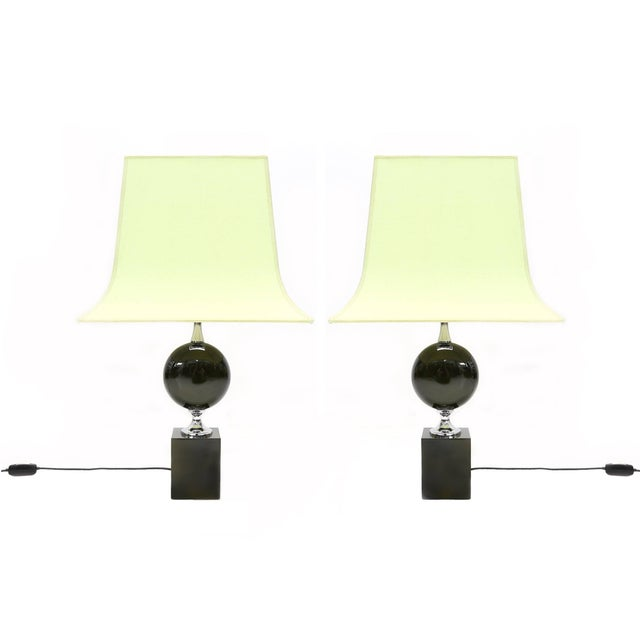 Pair of Philippe Barbier Green Table Lamps For Sale - Image 6 of 6