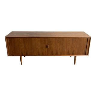 1960s Danish Control Teak Tambour Credenza For Sale
