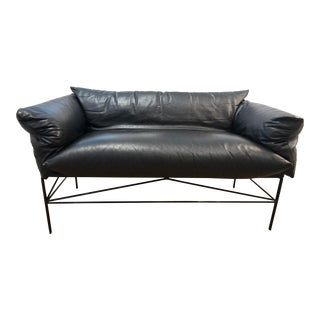 Italian Black Leather Settee For Sale