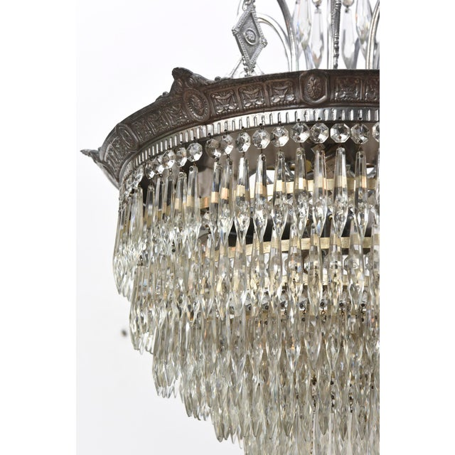 Transparent Tiered Crystal Four Light Fixture For Sale - Image 8 of 11
