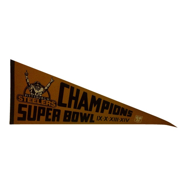 1980 Vintage NFL Pittsburgh Steelers Super Bowl Champions Team Pennant - Image 1 of 5