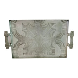 Canterbury Arts Art Deco Art Moderne Hammered Aluminum Serving Tray For Sale