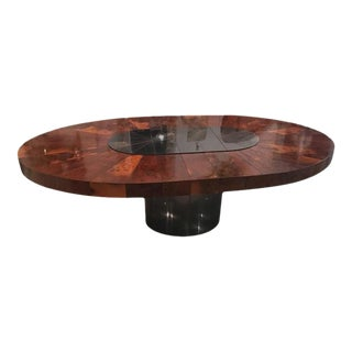 Paul Evans Burlwood Dining Table Brushed Metal For Sale