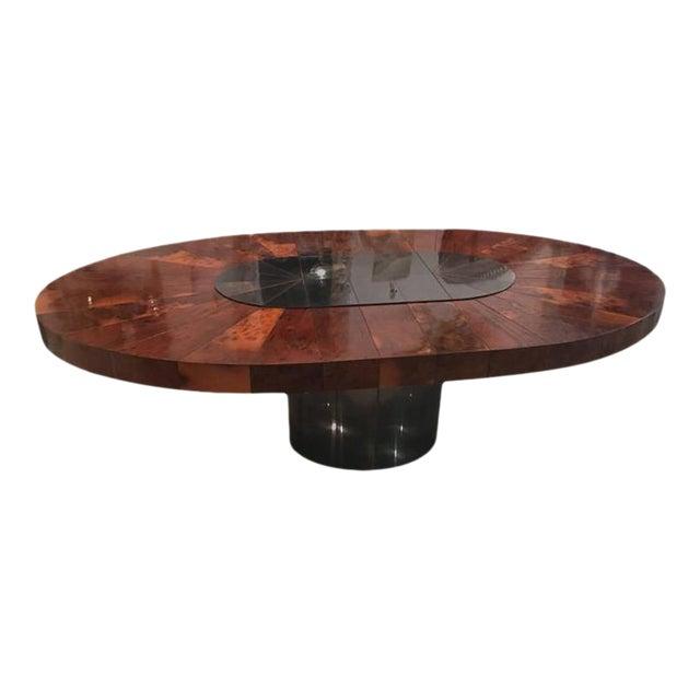 Paul Evans Burlwood Dining Table Brushed Metal For Sale