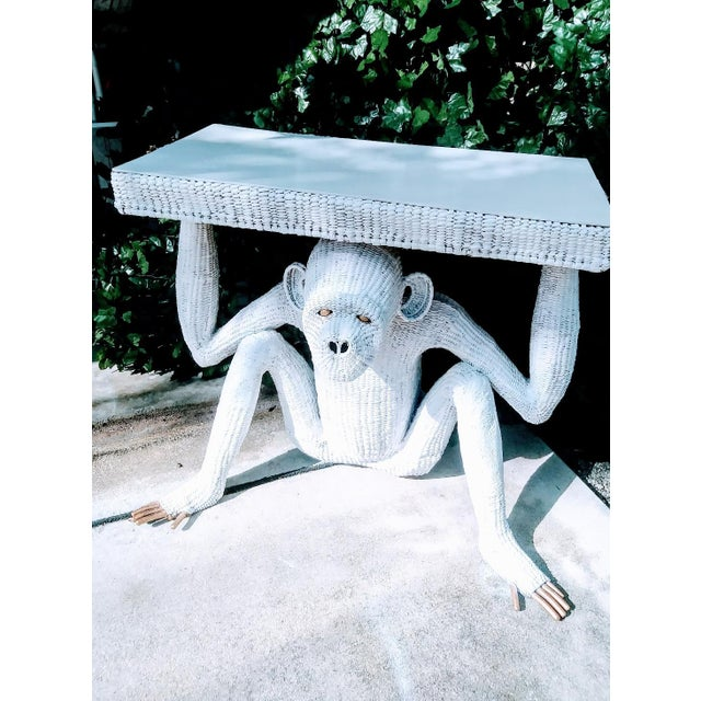 Hollywood Regency Mario Torres Lopez Vintage Extra Large White Wicker Monkey Hall Console Table For Sale - Image 3 of 13