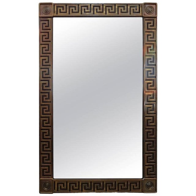 Brass Mastercraft Brass Greek Key Beveled Mirror For Sale - Image 8 of 8
