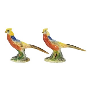 Ceramic Porcelain Bird Figurine Sculptures by Ugo Zaccagnini - Mid Century Modern Vintage Italian Colorful Birds - a Pair - Signed - For Sale