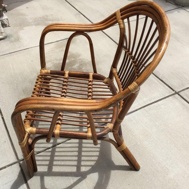 Vintage Boho Rattan & Bamboo Armchair - Image 6 of 8