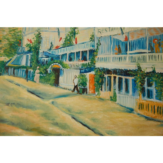 Large Impressionist Oil Painting of a French Street Scene For Sale - Image 11 of 13