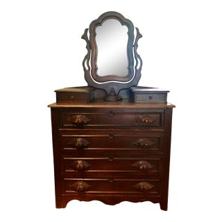 Mid 1800s Victorian Dresser With Vanity Mirror For Sale
