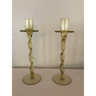 Vintage Hand Blown Amber Glass Candlesticks - a Pair Preview
