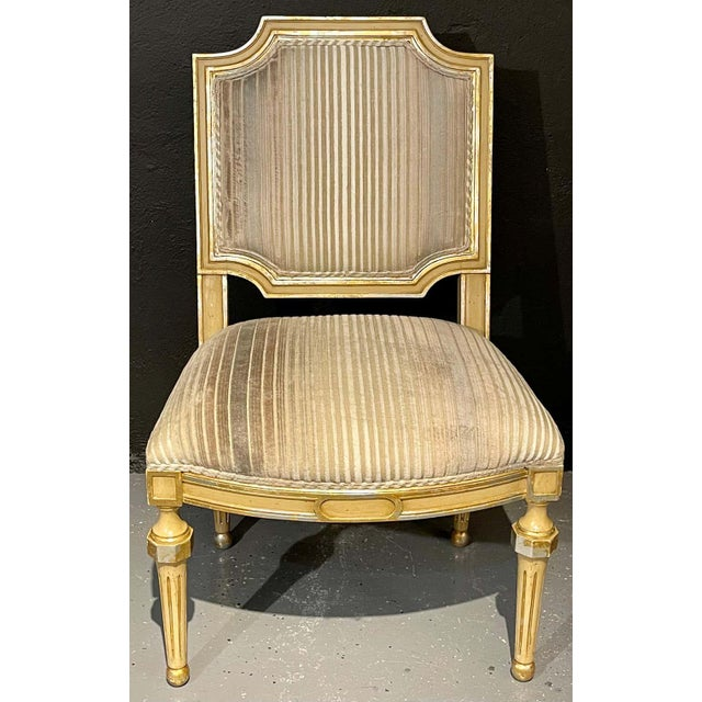 Paint Set of Eight Louis XVI Style Dining Chairs Painted and Parcel-Gilt, Jansen Style For Sale - Image 7 of 13