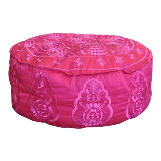 Handmade Indian Pink Pouf For Sale
