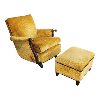 Antique Recliner With Crushed Yellow Velvet - a Pair For Sale