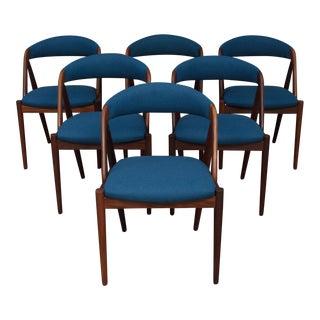 1960s Mid-Century Modern Kai Kristiansen Teak Blue Upholstered Dining Chairs - Set of 6