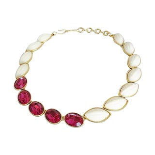 1980s Ysl Asymmetrical Faux-Ruby Rhinestone Necklace For Sale