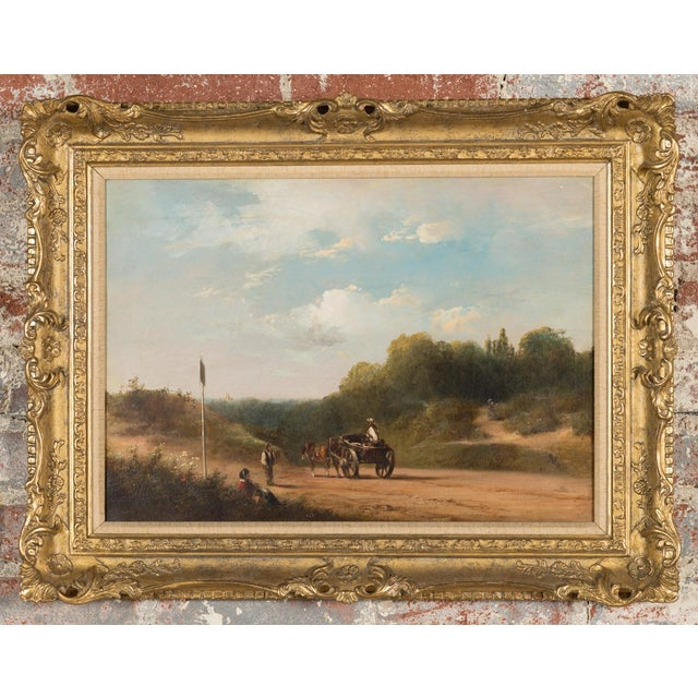 """Exquisite 19th-Century English oil painting on canvas by E. J. Niemann, entitled """" Landscape."""" Dimensions: 19"""" x 25"""" A..."""