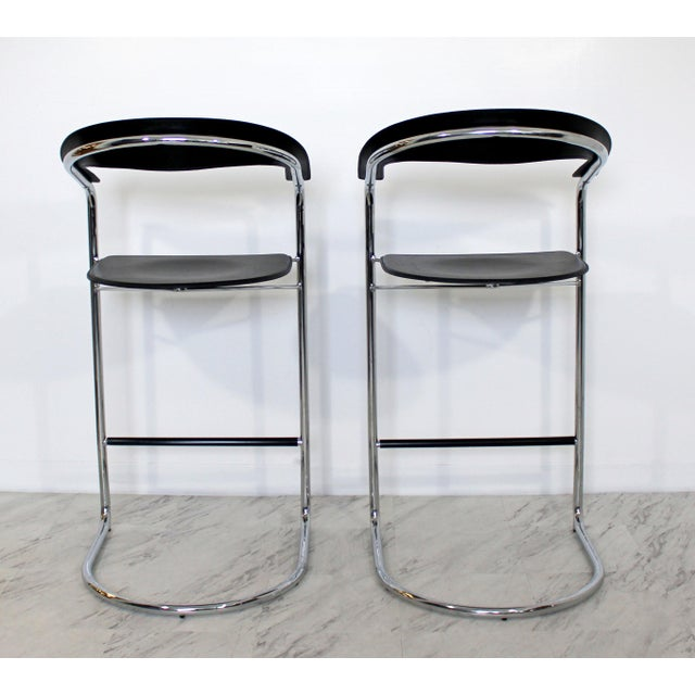 Thonet 1970s Vintage Thonet Italian Mid Century Modern Bar Stools - a Pair For Sale - Image 4 of 9