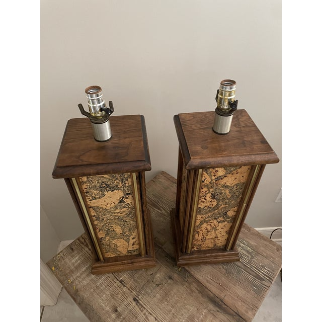 Mid-Century Modern Mid Century Modern Harris Strong Style Wood and Cork Lamp Bases - a Pair For Sale - Image 3 of 7