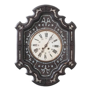 French 19th Century Napoleon III Ebony Wall Clock For Sale